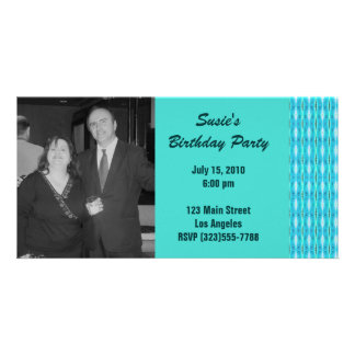 Turquoise Party Invitation Custom Photo Card