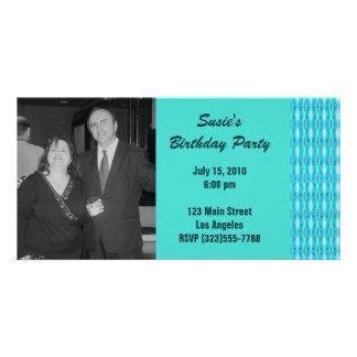 Turquoise Party Invitation Custom Photo Card