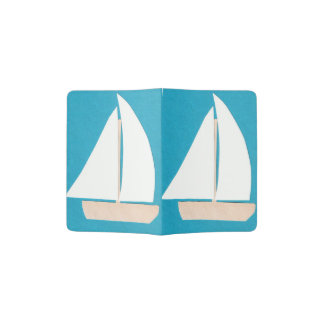 Turquoise Passport Holder with a White Sailboat