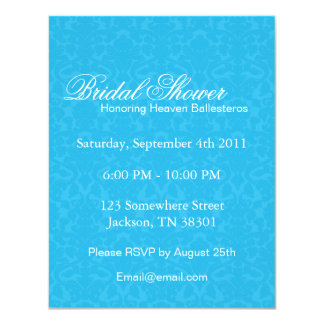 Turquoise Pattern   Bridal Shower Invitations