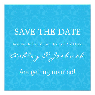 Turquoise Pattern Save The Date Invites