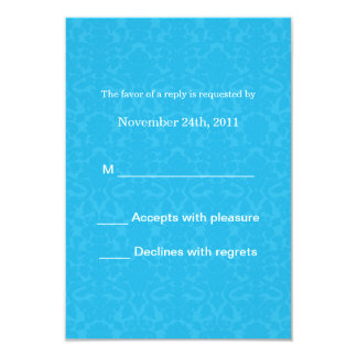 Turquoise Pattern  Wedding RSVP Cards Invites