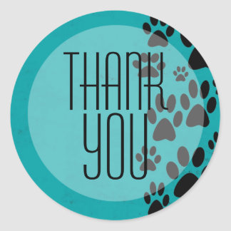 Turquoise Paws Background Thank You Stickers