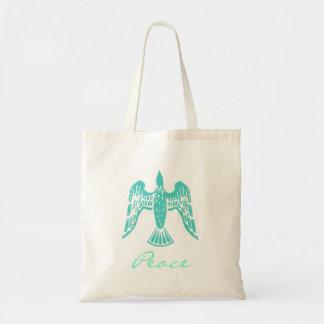 Turquoise Peace Dove Tote Bag