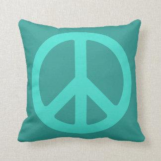 Turquoise Peace Symbol Throw Cushions