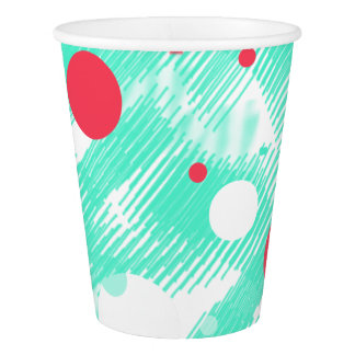 Turquoise Peach Abstract Print Paper Cup