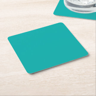Turquoise Peacock Color Customize This! Square Paper Coaster