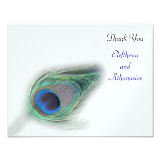 turquoise peacock Thank You Card 11 Cm X 14 Cm Invitation Card