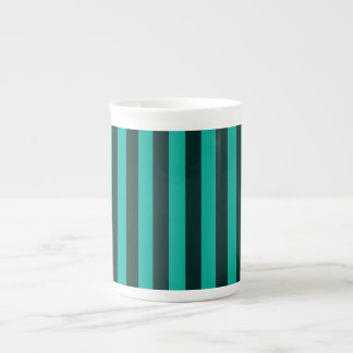 Turquoise Peacock Vertical Stripes Tea Cup
