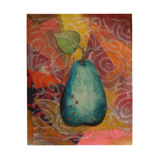 Turquoise Pear.....with Love Wood Print