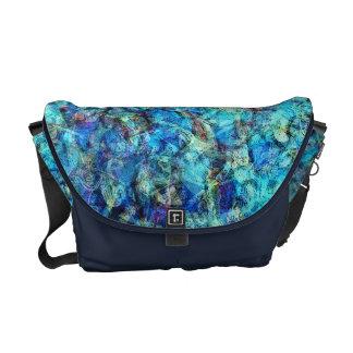 Turquoise Pebble Pool Abstract Messenger Bag