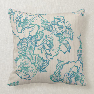 Turquoise Peonies Pillow