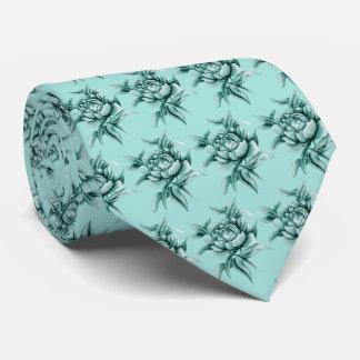Turquoise Peony Tie