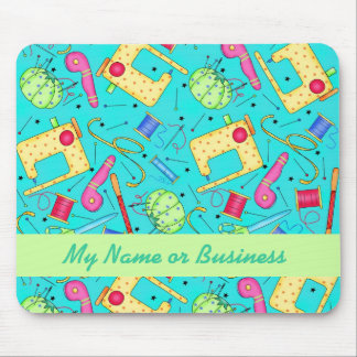 Turquoise Personalised Sewing Art Mousepad