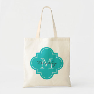 Turquoise Personalized Monogram Budget Tote Bag
