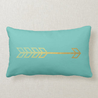 Turquoise Pillow with Gold Arrow