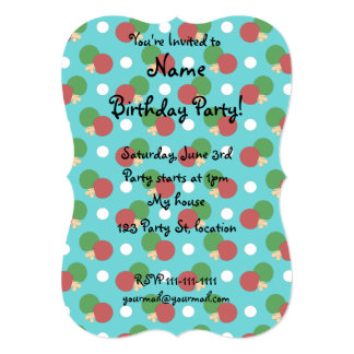 Turquoise ping pong pattern 13 cm x 18 cm invitation card