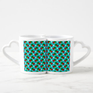 Turquoise ping pong pattern lovers mugs