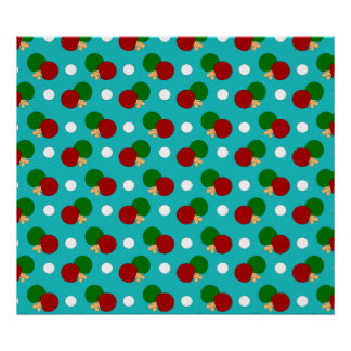 Turquoise ping pong pattern poster