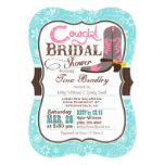 Turquoise, Pink, and Brown Cowgirl Bridal Shower 13 Cm X 18 Cm Invitation Card