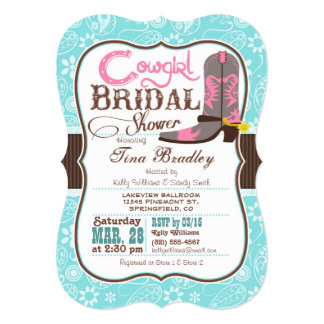 "Turquoise, Pink, and Brown Cowgirl Bridal Shower 5"" X 7"" Invitation Card"