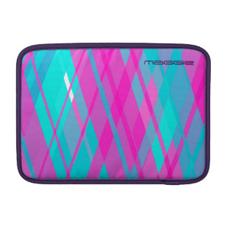 turquoise & pink checked pattern with name sleeve for MacBook air