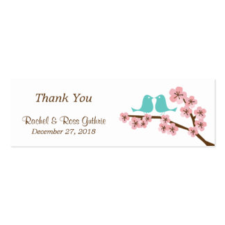 Turquoise Pink Cherry Blossom Wedding Favor Tags Business Card