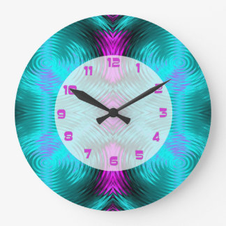 Turquoise Pink Circular Abstract Large Clock