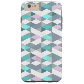 Turquoise Pink Diamond Squares Triangles Pattern Tough iPhone 6 Plus Case
