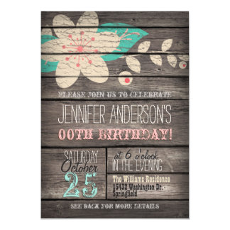 Turquoise, Pink Flower, Rustic Adult Teen Birthday 13 Cm X 18 Cm Invitation Card
