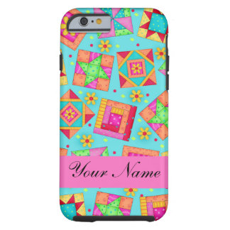 Turquoise Pink Quilt Patchwork Name Personalized Tough iPhone 6 Case