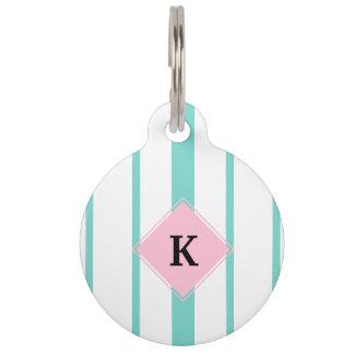 Turquoise Pink Stripes Monogram Pet Nametags
