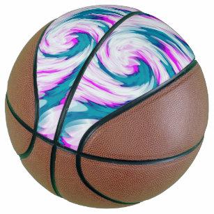 Turquoise Pink Tie Dye Swirl Basketball