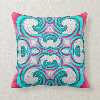 Turquoise Pink White Geometric American MoJo Pillo Cushion