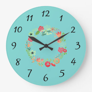 Turquoise Pink Wreath Wall Clock