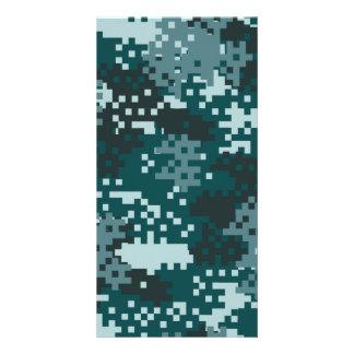 Turquoise Pixel Camouflage Customized Photo Card