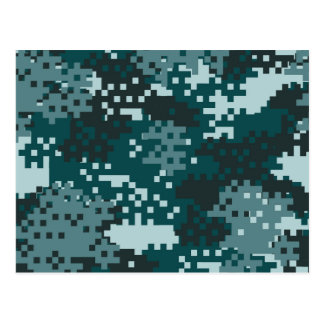 Turquoise Pixel Camouflage Postcard
