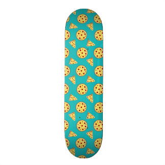 Turquoise pizza pattern skate boards