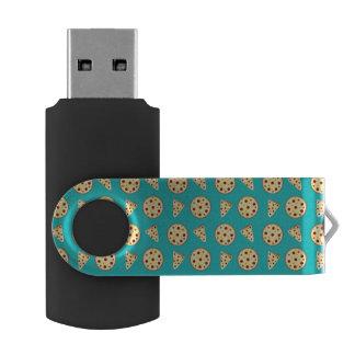 Turquoise pizza pattern swivel USB 2.0 flash drive