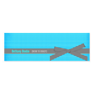 Turquoise Plaid Mummy Calling Cards Business Card Template