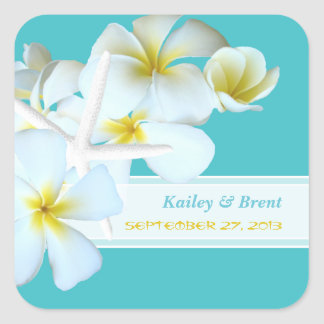 Turquoise Plumeria Square Wedding Stickers