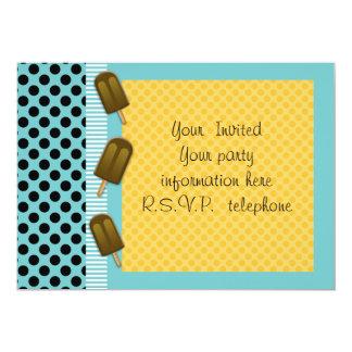"turquoise polka dot and ice cream invitation 5"" x 7"" invitation card"