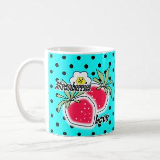 Turquoise polka dot background coffee mug