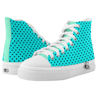 Turquoise polka dot background high tops