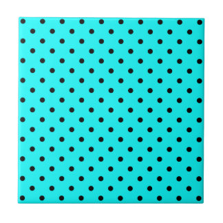 Turquoise polka dot background small square tile