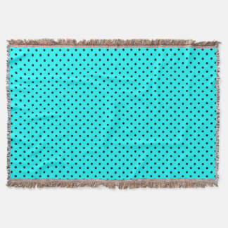 Turquoise polka dot background throw blanket