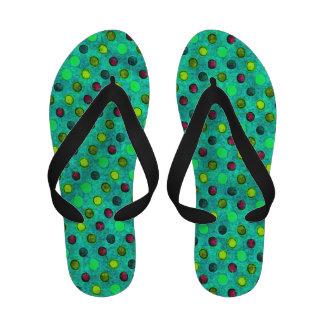 Turquoise polka dot flip flops