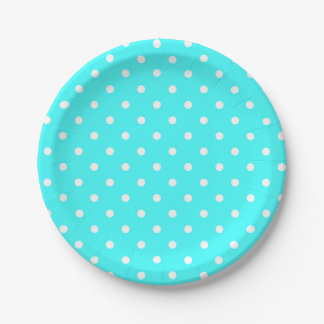 Turquoise polka dot modern glamour 7 inch paper plate