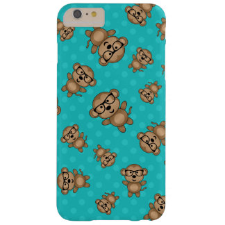 Turquoise polka dots nerd monkey barely there iPhone 6 plus case