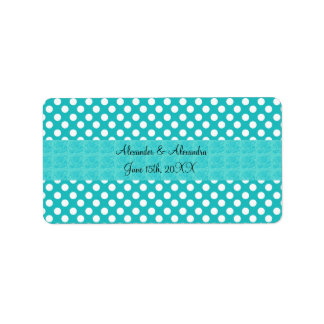 Turquoise polka dots wedding favors address label